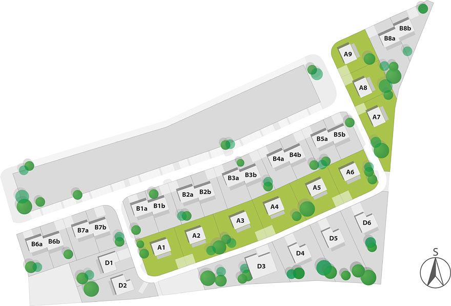 Mapa rozmístění parcel